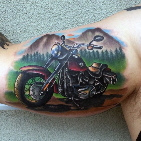 Motorcycle and mountains tattoo