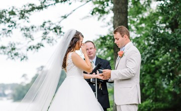 This cozy and homey garden wedding took place in a garden on the creek opposite the future couple