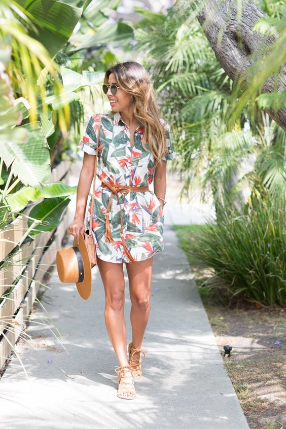 a tropical print shirt dress, a brown suede sash and a bag for a relaxed weekend look