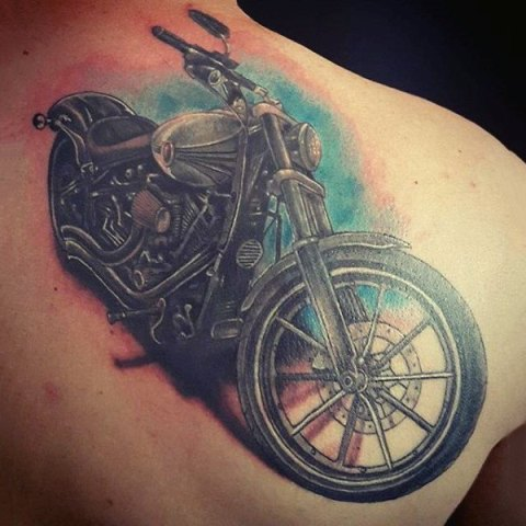 Classic Harley Davidson tattoo on the shoulder