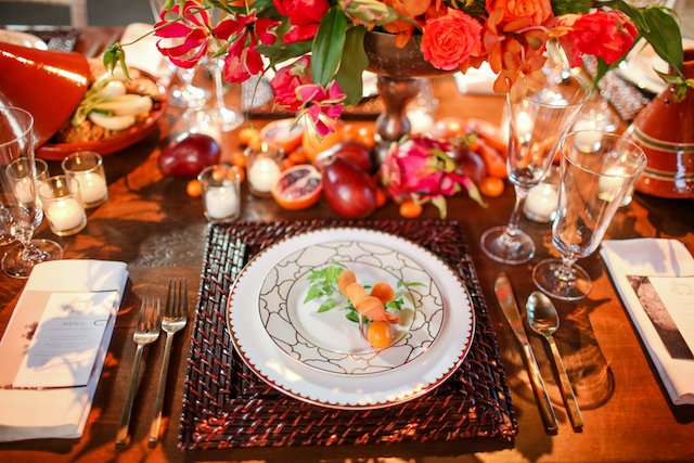 Bright and colorful orange and red table setting | Rodeo & Co Photography + BESWOON