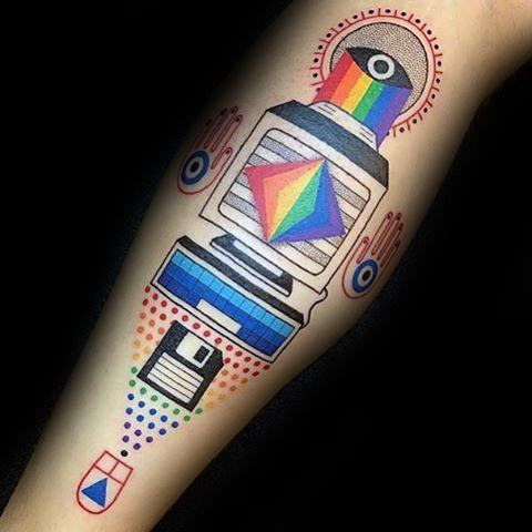 Colorful computer tattoo