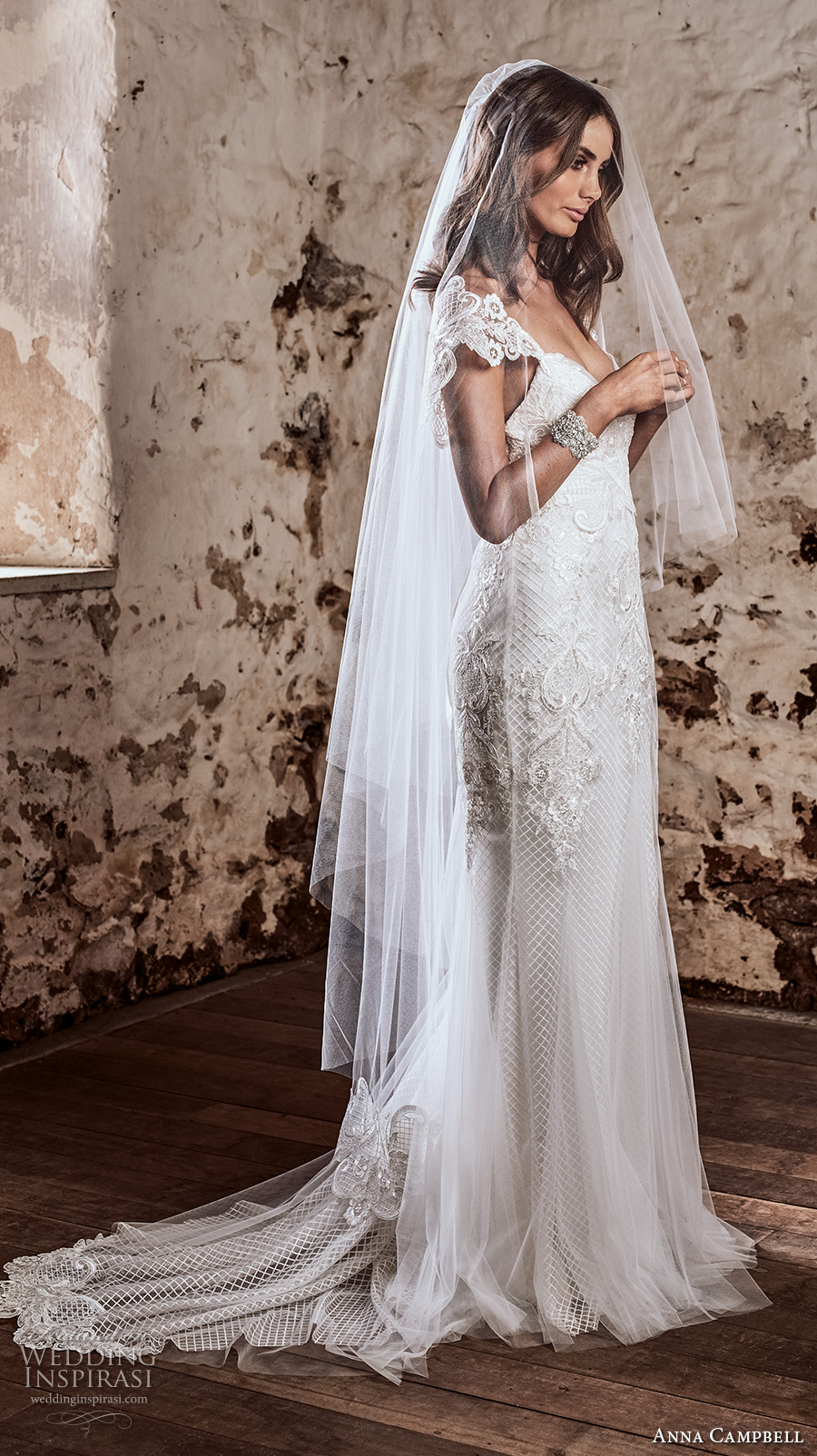 anna campbell 2018 bridal cap sleeves sweetheart neckline heavily embellished bodice romantic fit and flare wedding dress open v back sweep train (4) sdv