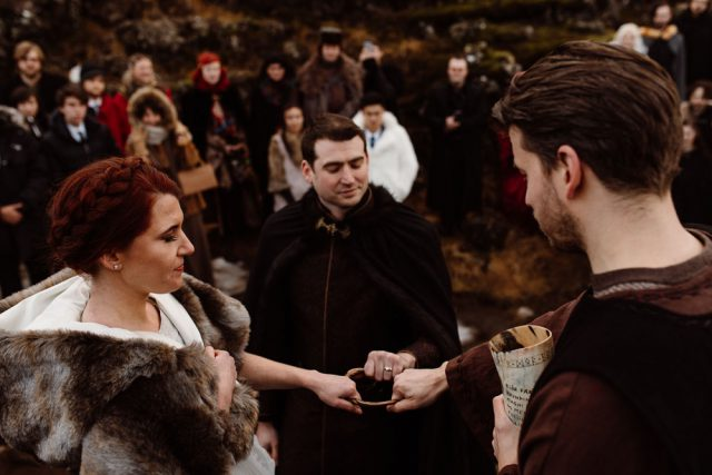 The ceremony was pagan, with a horn to drink beer and say wishes to the couple