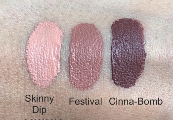 L'Oreal Paris Infallible Matte Lip Paints Swatches - Skinny Dip, Festival and Cinna-Bomb
