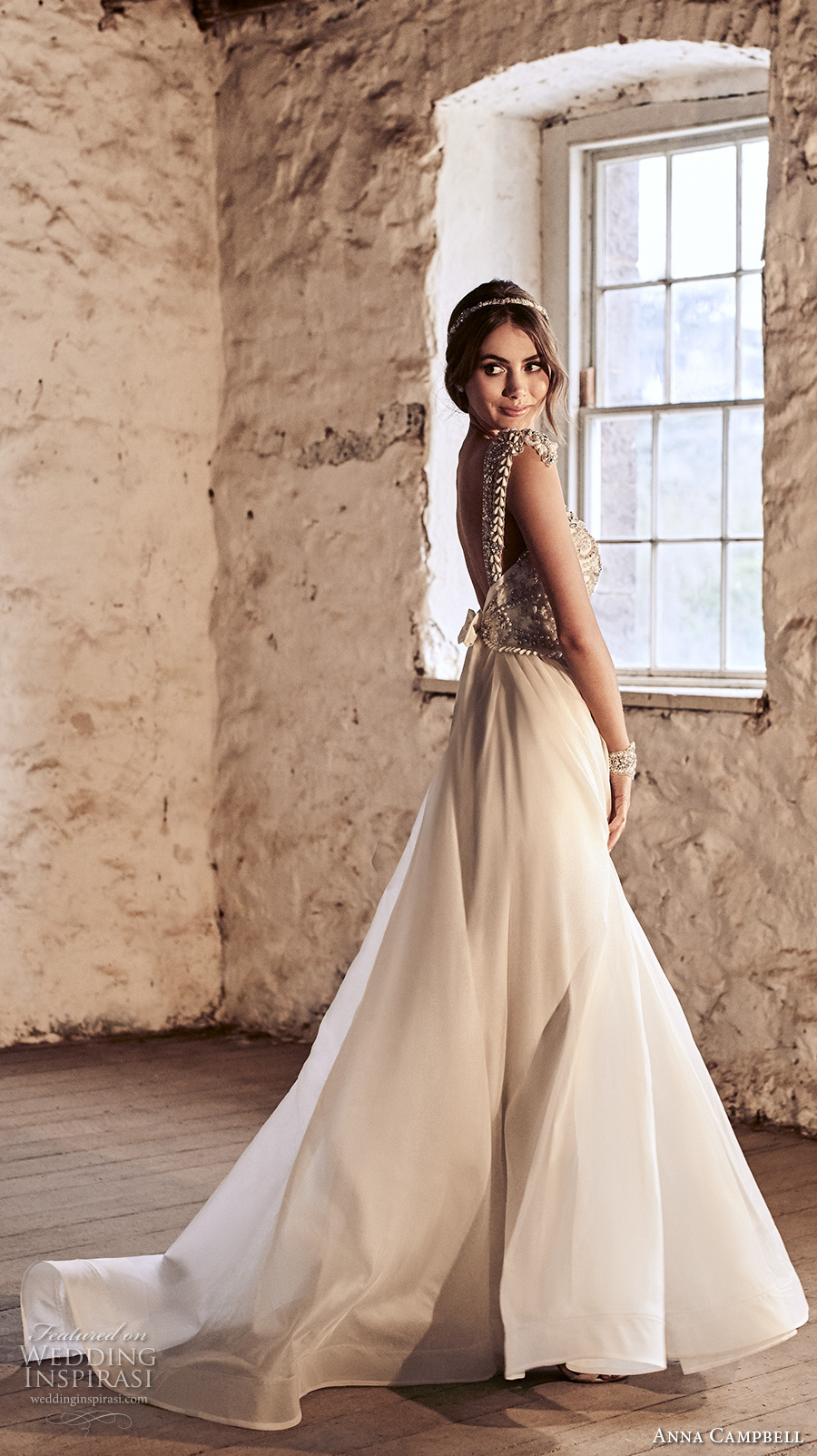 anna campbell 2018 bridal cap sleeves scoop neckline heavily beaded embellished bodice romantic a line wedding dress open scoop back chapel train (7) sdv