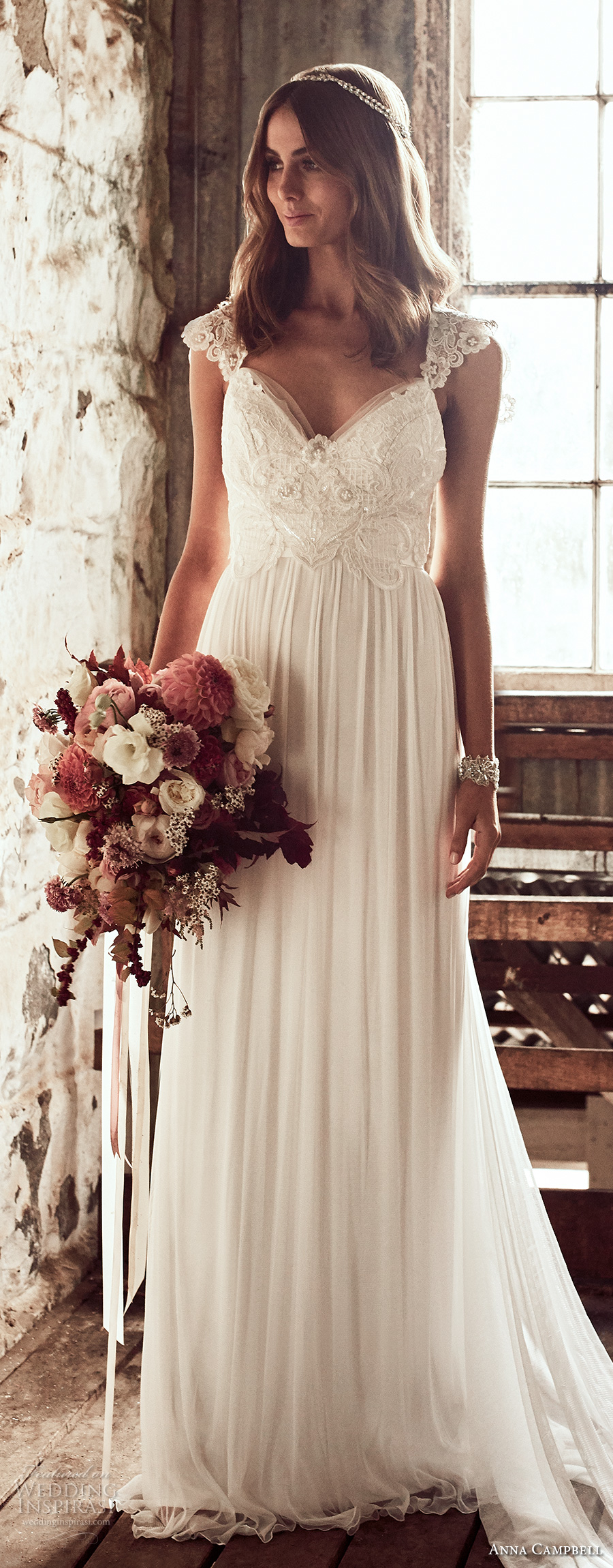 anna campbell 2018 bridal cap sleeves sweetheart neckline heavily embellished bodice romantic soft a line wedding dress open v back sweep train (3) lv