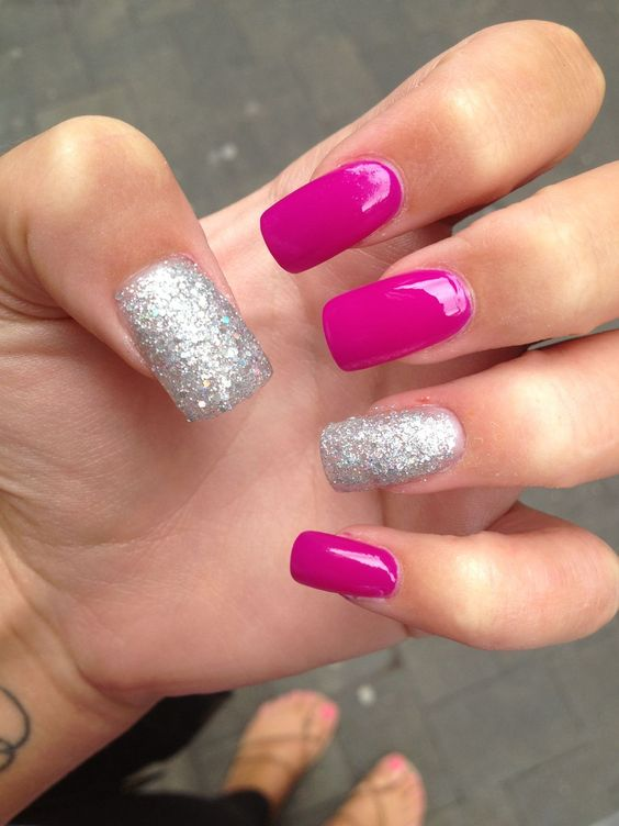 hot pink nails and silver glitter ones for a glam feel