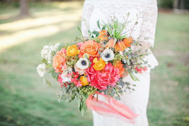 Pink and orange colorful bridal bouquet | Nicole Chatham Photography