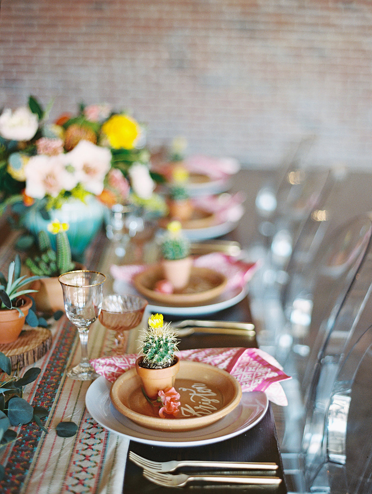 modern tablescapes - photo by Charla Storey Photography http://ruffledblog.com/summer-loving-wedding-inspiration-with-a-fiesta-brunch