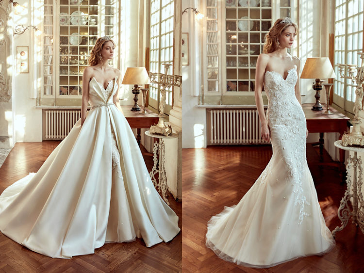 a lace mermaid wedding dress and a plain cover for the whole dress, not only the skirt
