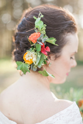 Updo with summer flowers | Nicole Chatham Photography