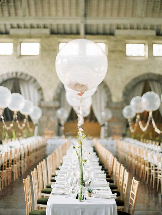 sheer balloons for decorating the tables will save much space on the table itself