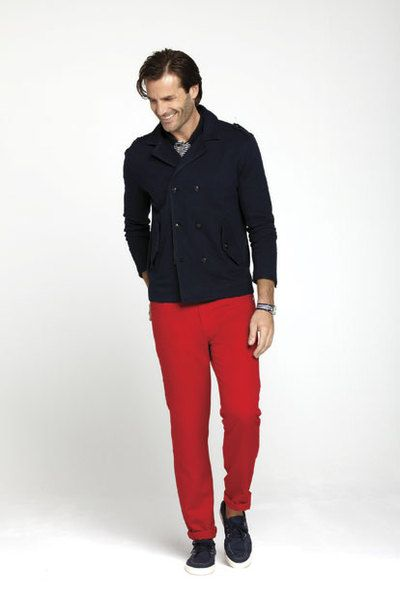 How to Wear Double Breasted Coat with Red Pants