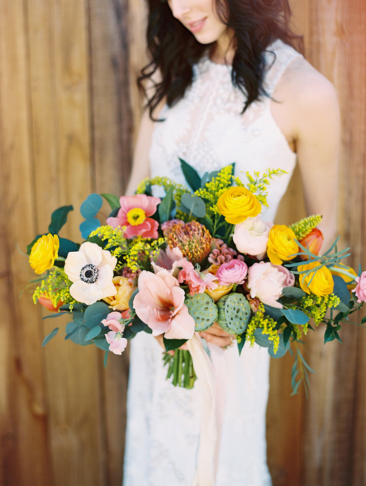 colorful summer bouquets - photo by Charla Storey Photography http://ruffledblog.com/summer-loving-wedding-inspiration-with-a-fiesta-brunch