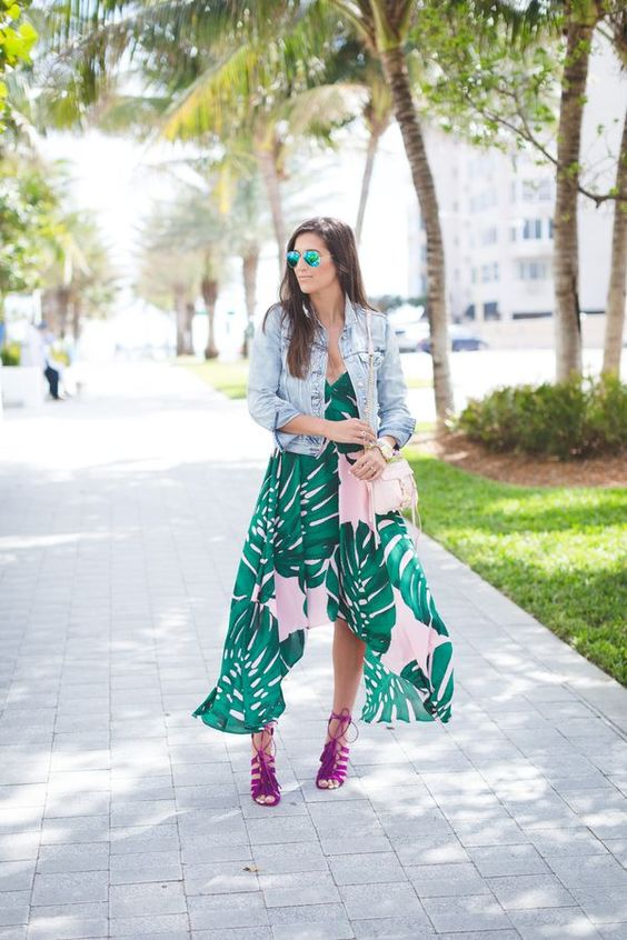 tropical leaf print high low dress, a denim jacket and fuchsia lace up heels