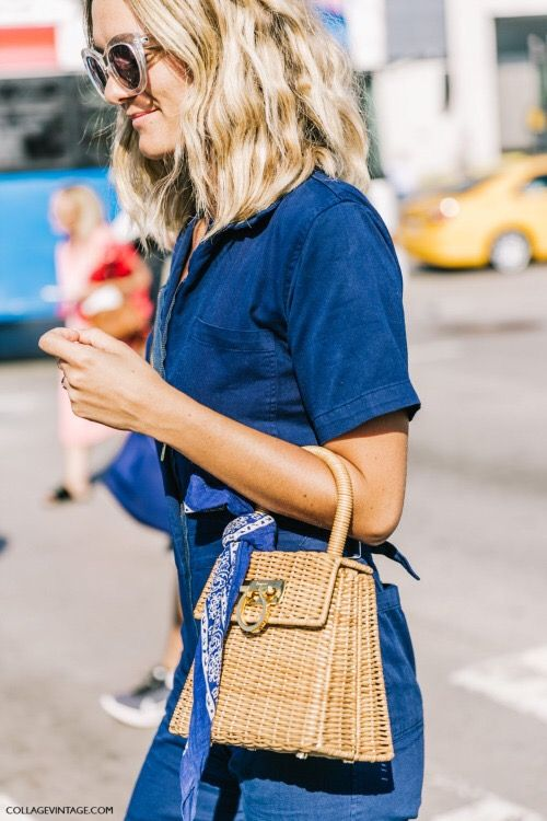 a small wicker handbag is a chic idea for those who don't like large totes