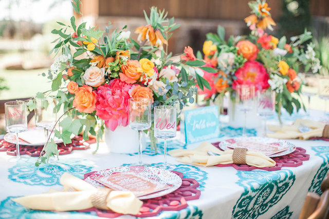 Colorful summer wedding tablescape | Nicole Chatham Photography