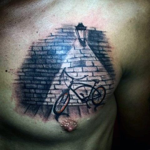 Bicycle tattoo on the chest