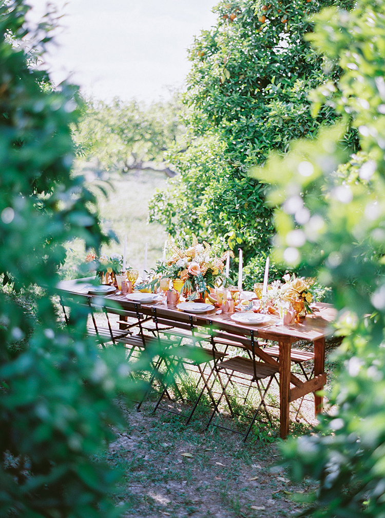 orchard weddings - photo by Melissa Jill Photography http://ruffledblog.com/citrus-and-copper-orchard-wedding-inspiration
