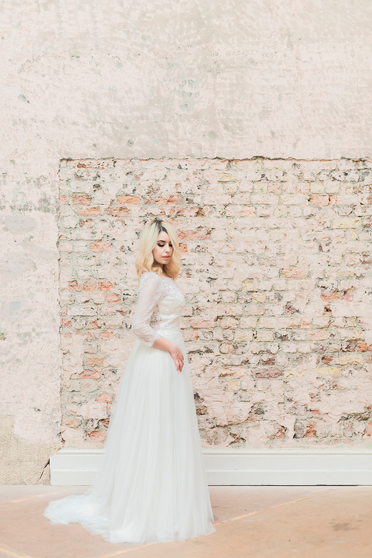 gauzy wedding dresses - photo by Studio Brown http://ruffledblog.com/industrial-wedding-shoot-in-dublin-with-serious-romantic-vibes