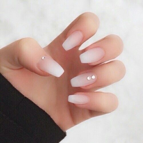ombre matte French manicure with rhinestones