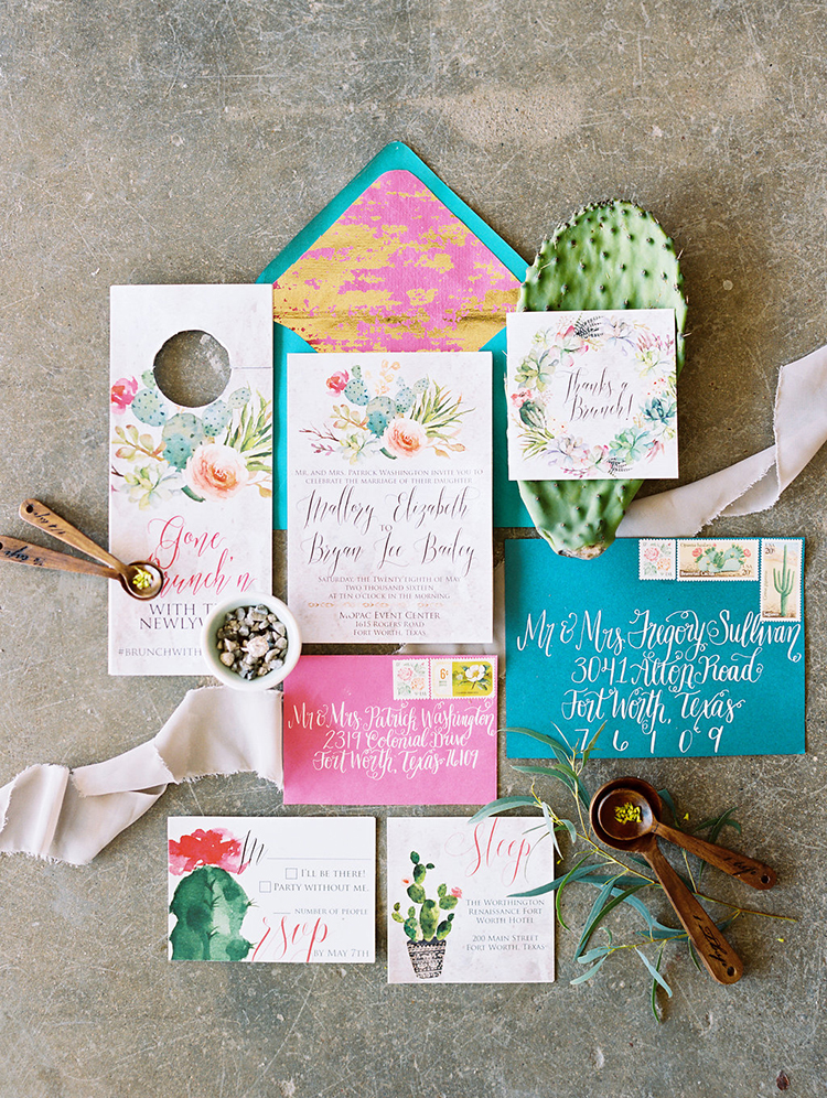 colorful pink and teal wedding invitations - photo by Charla Storey Photography http://ruffledblog.com/summer-loving-wedding-inspiration-with-a-fiesta-brunch