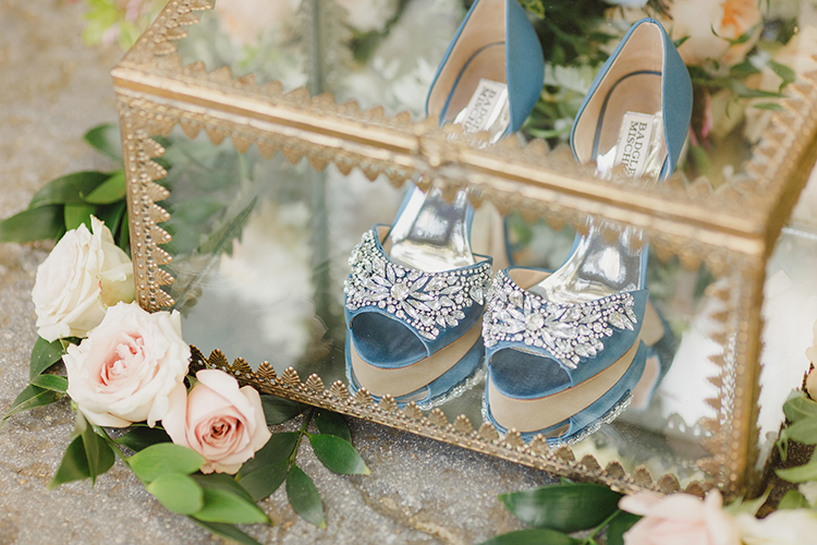 blue wedding shoes - photo by Kristen Booth Photographer http://ruffledblog.com/majestic-castle-wedding-inspiration-with-celestial-accents