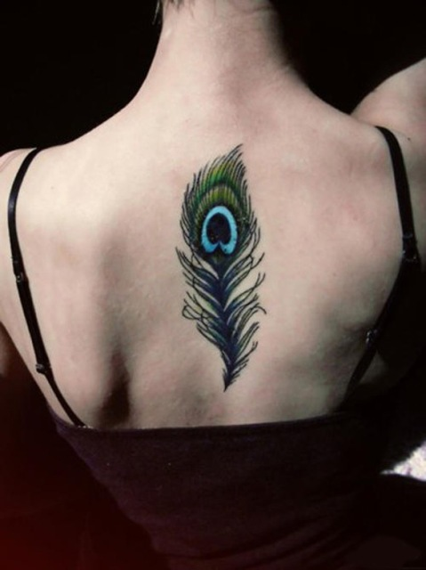 Feather tattoo on the back
