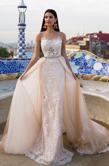 illusion neckline sheath wedding dress with a matching overskirt