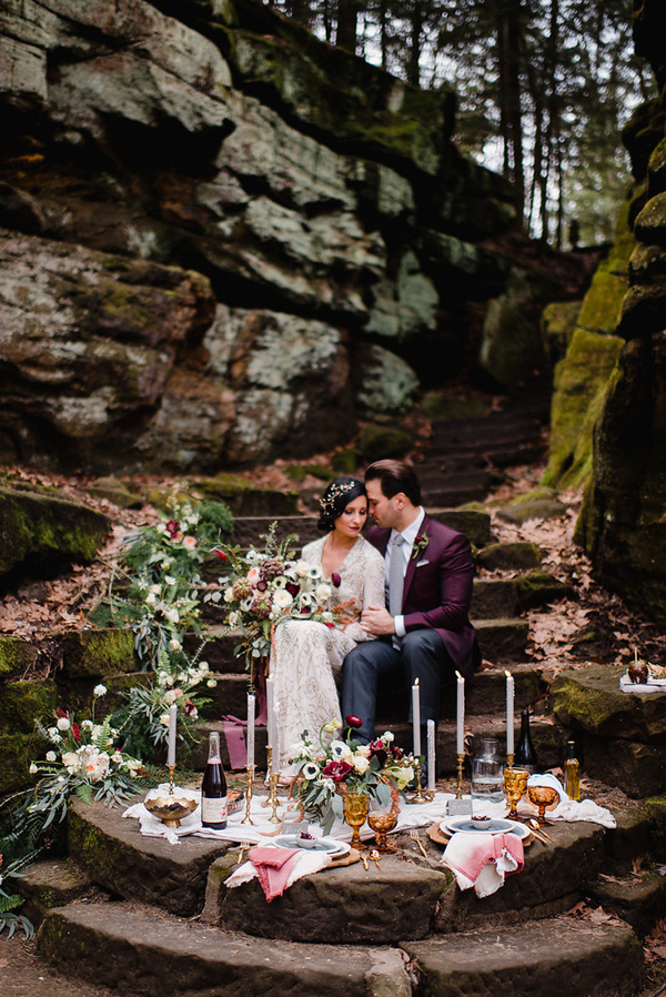 This adorable fall wedding shoot is full of berry tones, rich details and beautiful views