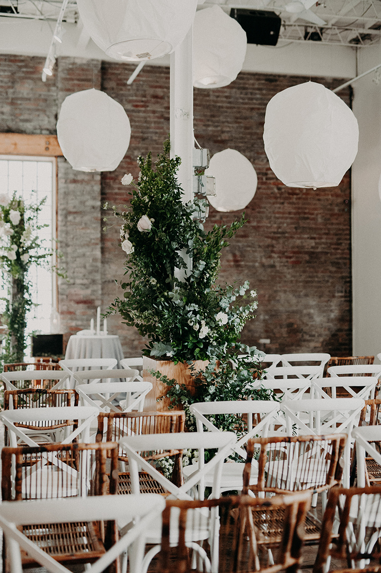 greenery at wedding ceremonies - photo by Scarlet ONeill http://ruffledblog.com/industrial-space-meets-enchanted-forest-wedding