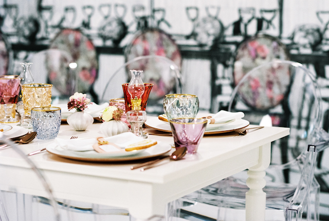 Whimsical, colorful tablescape