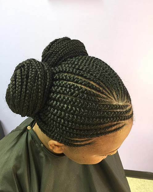 Cute Double Bun Braids for Summer Protective Styles for Black Women