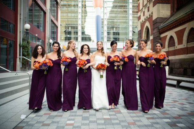 strapless sweetheart maxi gowns for the bridesmaids