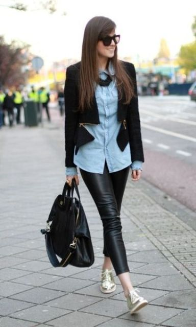 black cropped leather pants, a blue shirt, a black zip blazer, metallic shoes and a black backpack