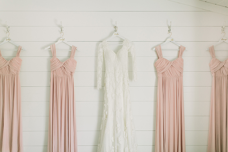 blush pink bridesmaid dresses - photo by Mustard Seed Photography http://ruffledblog.com/modern-farmhouse-wedding-with-organic-details