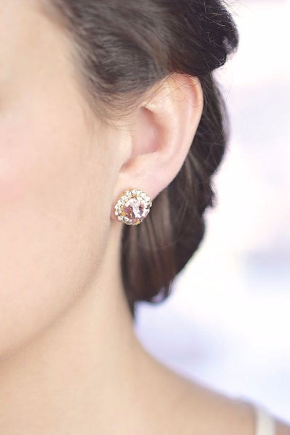 blush pink Swarovski crystal stud earrings for a soft girlish touch