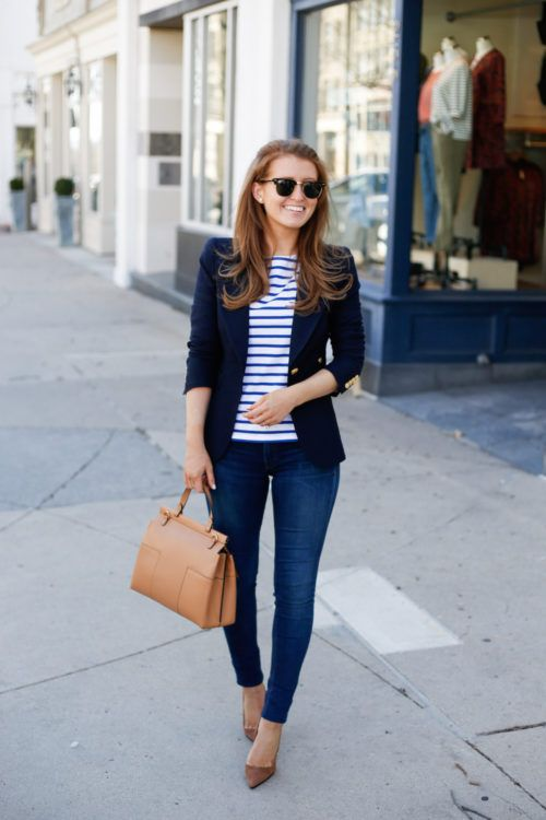 blue jeans, a navy blazer, a striped top and taupe suede shoes