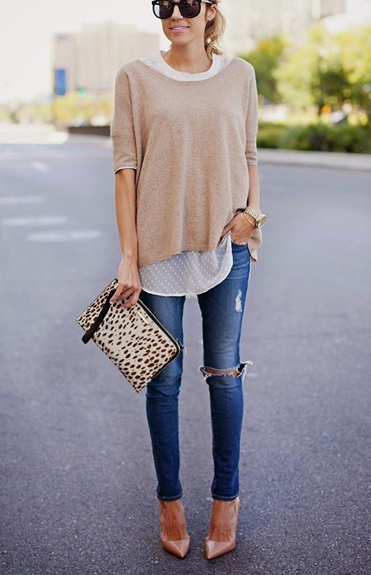 nude heels, ripped skinnies, a polka dot shirt and a neutral oversized long sleeve, an animal print clutch