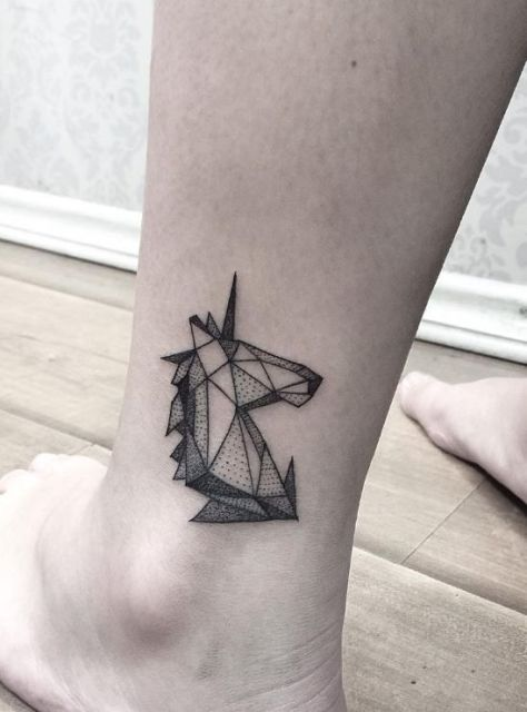 Geometric unicorn tattoo on the ankle