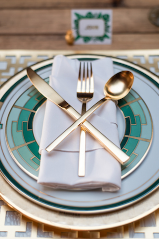 Emerald and gold plates and flatware