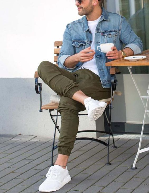 olive green pants, a white tee, a denim jacket, white chucks for a weekend look