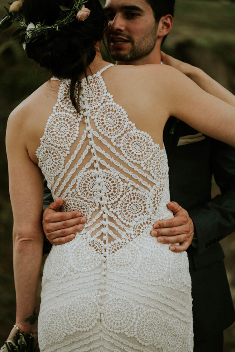 Look at that gorgeous illusion back wedding dress