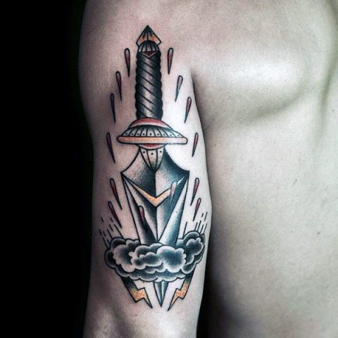 Dagger and cloud tattoo