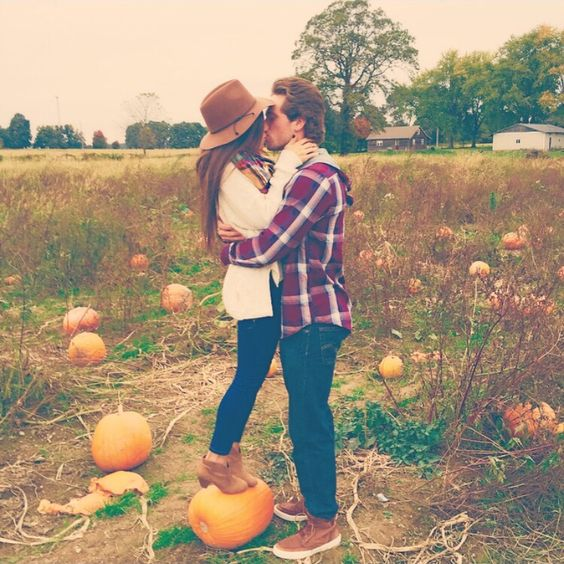 fun photo with real pumpkins for a fall feel is very natural