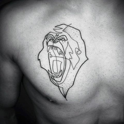Black-contour angry monkey tattoo