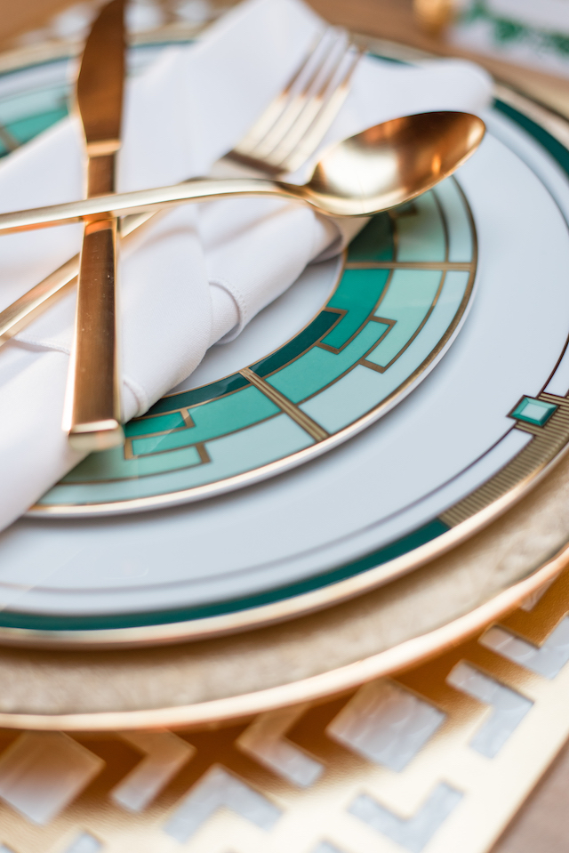 Emerald green and gold plates