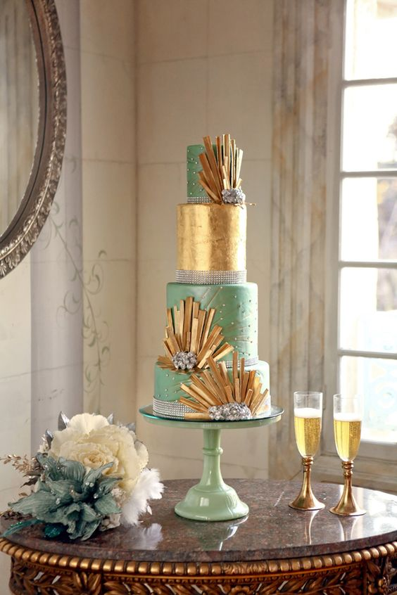 a mint and metallic gold art deco wedidng cake with spiky gold decor, beads, rhinestones