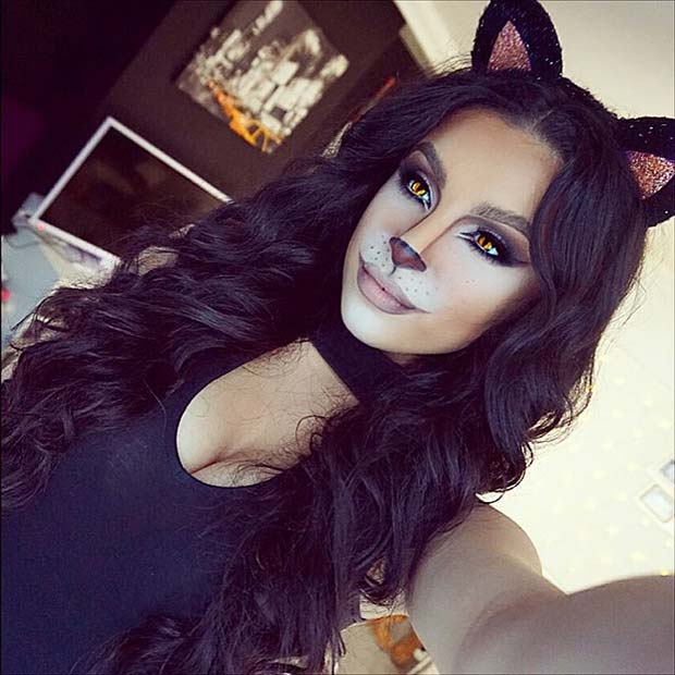 Halloween Black Cat for Cute Halloween Makeup Ideas